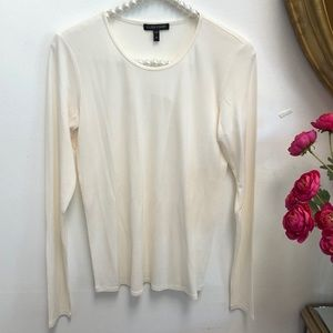 Eileen Fisher Cream Long Sleeved Silk Blouse XS